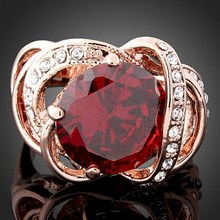 Jewelry Rose Gold plated ruby rings with CZ Diamonds for women Fashion wedding Accessories Bijouterie J00151