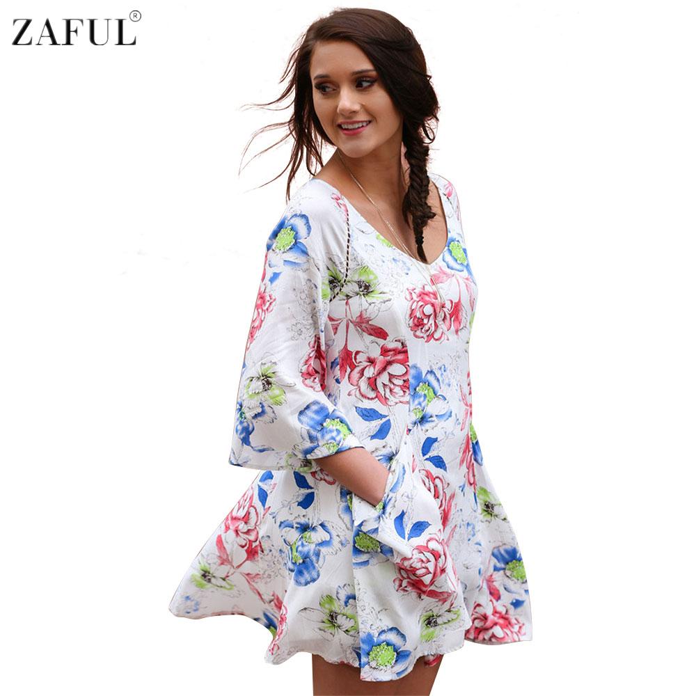 zaful women floral print short dress sweet cute summer