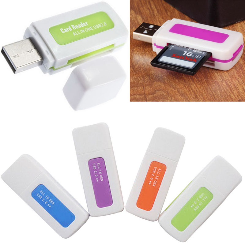 5 Pieces/Lot portable 4 in 1 Memory Multi Card Reader USB 2.0 for SD/TF/T-Flash/M2 Memory Cards Readers VC393 P10(China (Mainland))