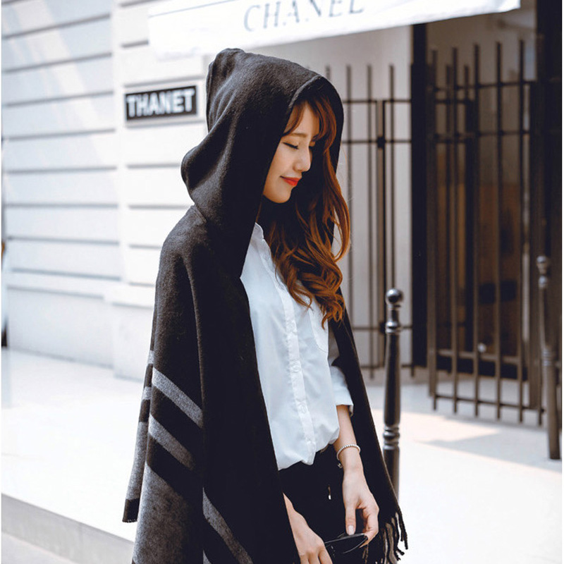 Women's Wool Hooded Poncho with Hat Winter Scarves Black Beige Colors Z-2116()