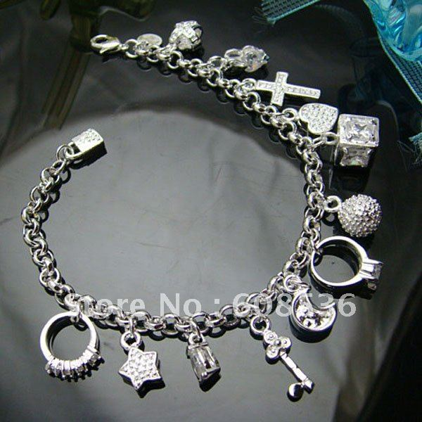 fashion jewelry, Silver plated Bracelets&bracelet  13 Charm,  jewelry,Brand New B82