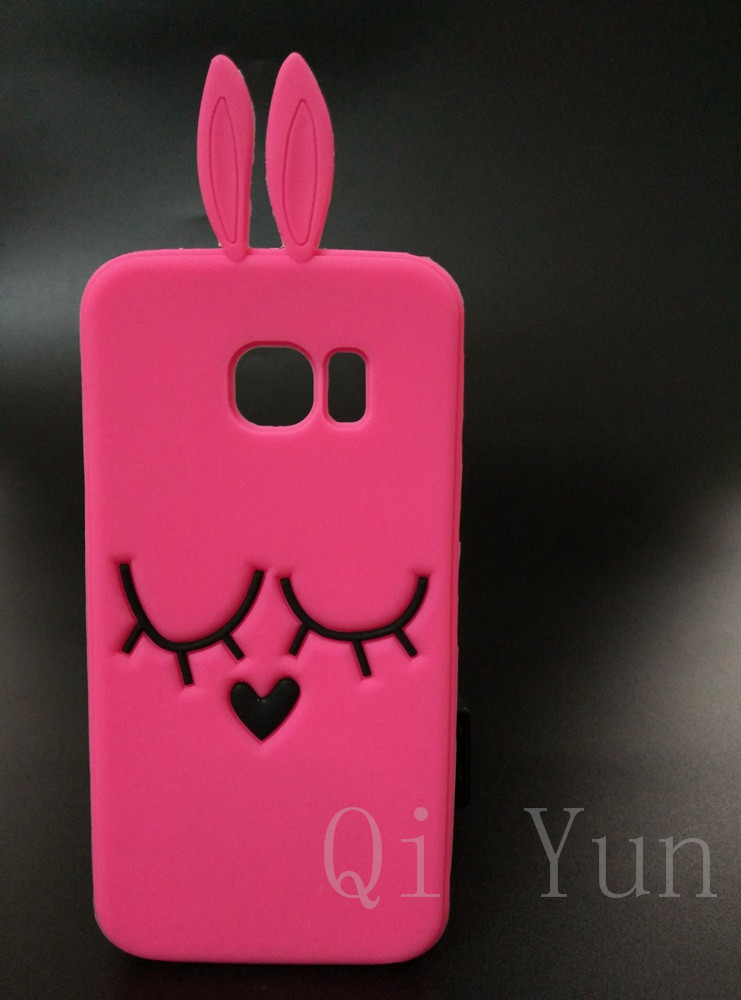 3D Cute Cartoon Hot Pink Rabbit Soft Silicone Case Back Cover For Samsung Galaxy S6 Edge G9250(China (Mainland))