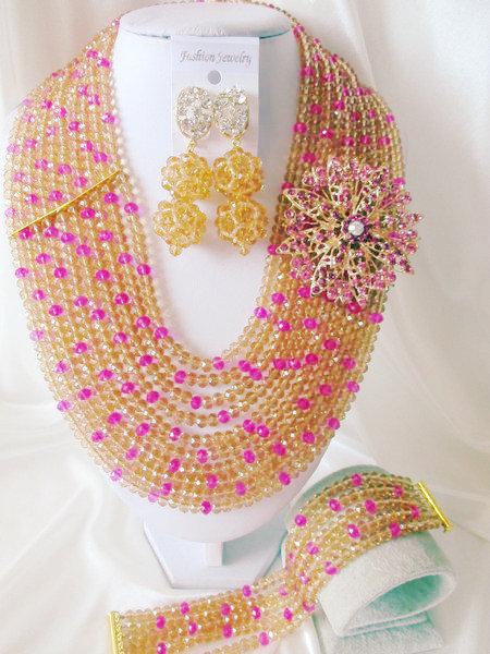 Fashion Nigerian African Wedding Beads Jewelry Set , Crystal Necklace Bracelet Earrings Set C0458<br><br>Aliexpress