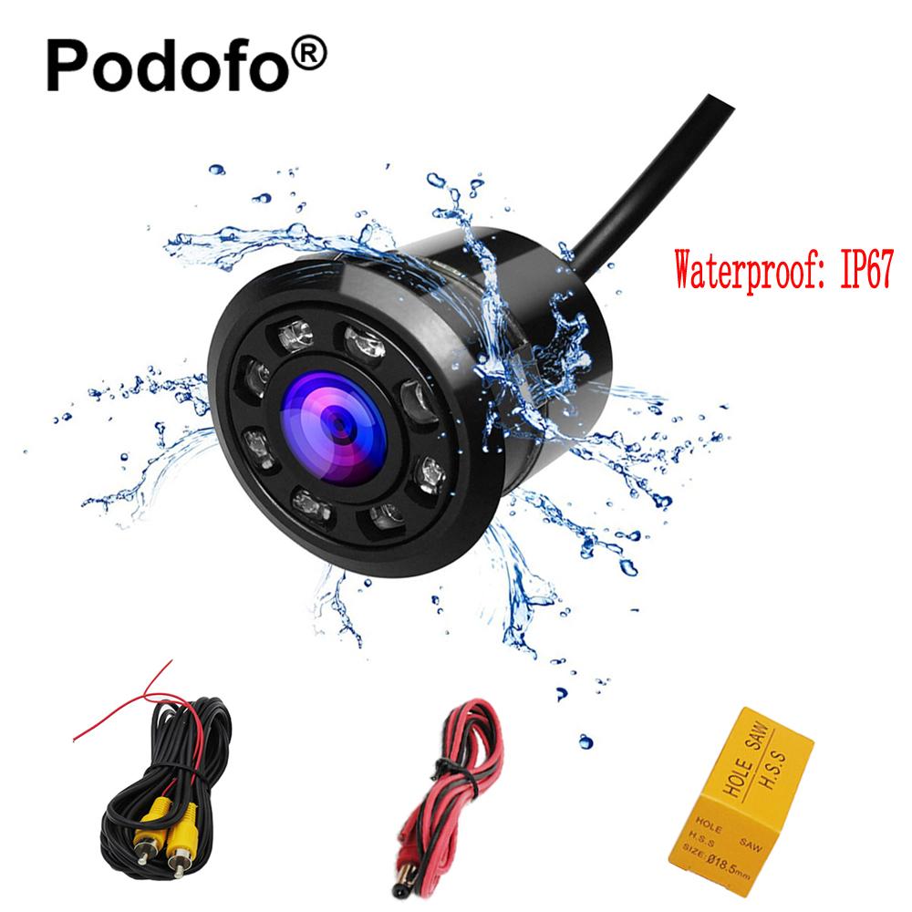 Mini Car Backup Camera HD Color Reverse Rear View Cameras with 8 LED Night Vision 170 Degree Waterproof Color CCD Image(China (Mainland))