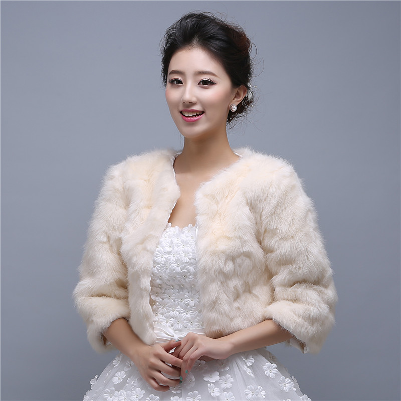 China Online Shop Women Winter Jackets Champange Faux Fur Wedding Wraps Capes Special Occasion Winter Shawls Coat(China (Mainland))