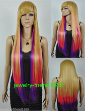 Wholesale& heat resistant LY free shipping>>>New Cosplay Long Straight Multicolor Mixed Women's Full Wig