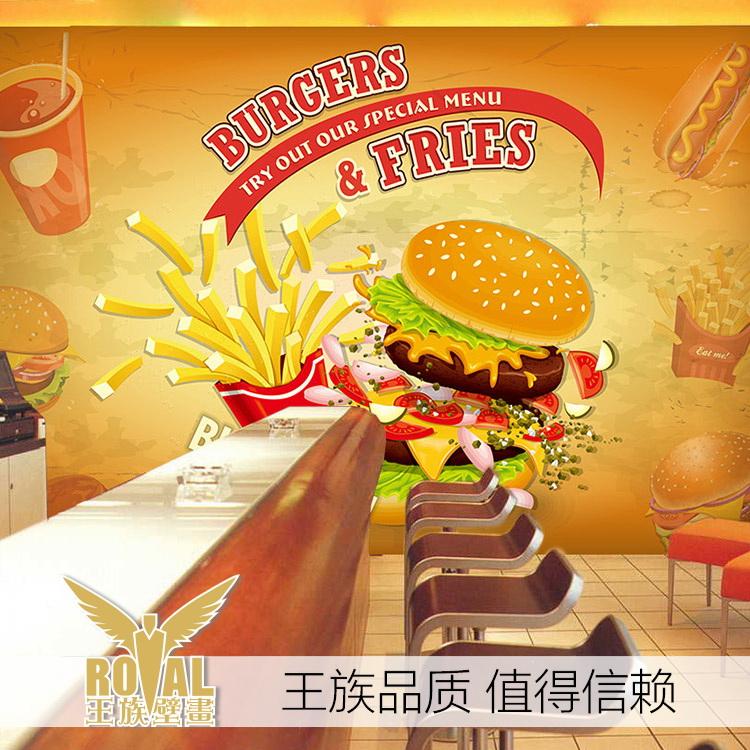 Free Shipping custom 3D large wall painting wallpaper fast food restaurant western restaurant tea shop dessert wallpaper mural(China (Mainland))