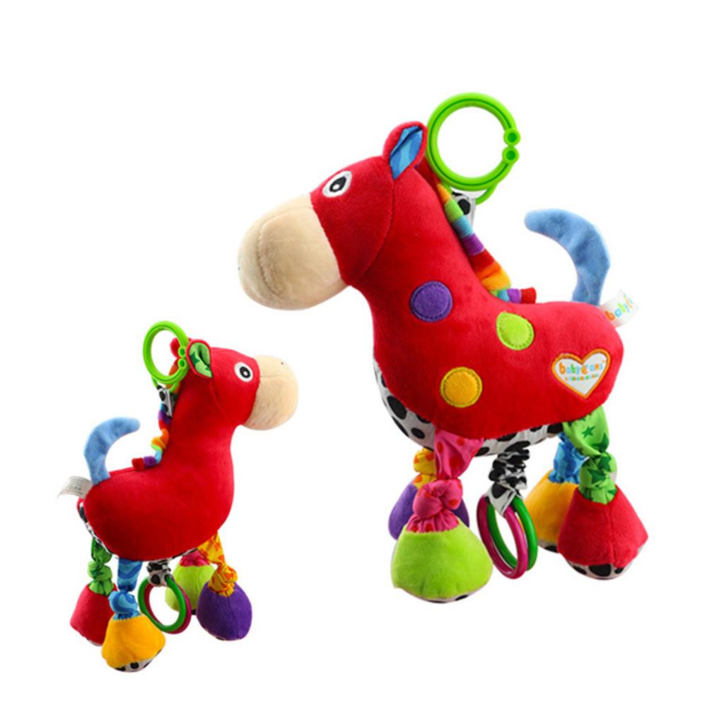 Soft Plush Cartoon Animal Rattle Red Horse Music pull bell Toy Newborn Christmas Gift Plush Baby Educational Toys(China (Mainland))
