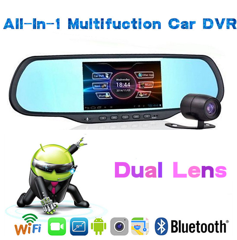 """5"""" + 1080P + Android 4.0 + GPS + WIFI +BT + Backup Camera All in 1 Multifunction Rear view Mirror CAR DVR Car Driving Recorder(China (Mainland))"""