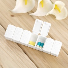 3pcs/Lot Mini Pillbox Container Non-removable plastic Case One Week 7-days small Medicine Pill Drug Box(China (Mainland))