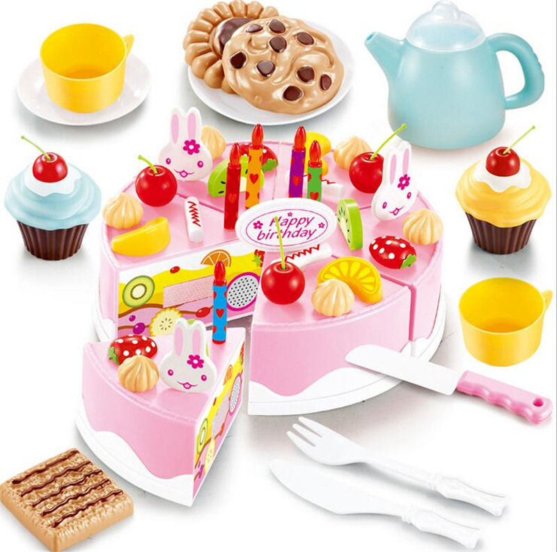 54pcs DIY Cutting Birthday Cake Kitchen Food Toy Children Kids Baby Classic Toy Pretend Play house Cookware Set