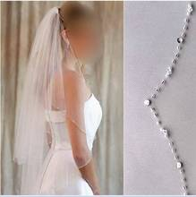 Promotion! Free Shipping High Quality Wedding Accessories Elegant Waist Length Tulle two-layer beading with comb Wedding Veils(China (Mainland))