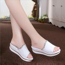 Verano de 2016 nuevo cuero sandalias y zapatillas sandalias de la plataforma zapatos cuñas zapatos de plataforma con comodidad en corea del tamaño 34-40(China (Mainland))