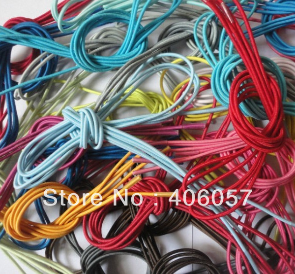 Round colorful 3mm elastic shoelace with plastic aglet 50pairs/lot(China (Mainland))