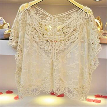 Best Price 1 piece/lot Batwing Sleeve Blouse Cotton Blended Lace Shirts Beige Loose Tops Fashion Women's Blouse ej651400