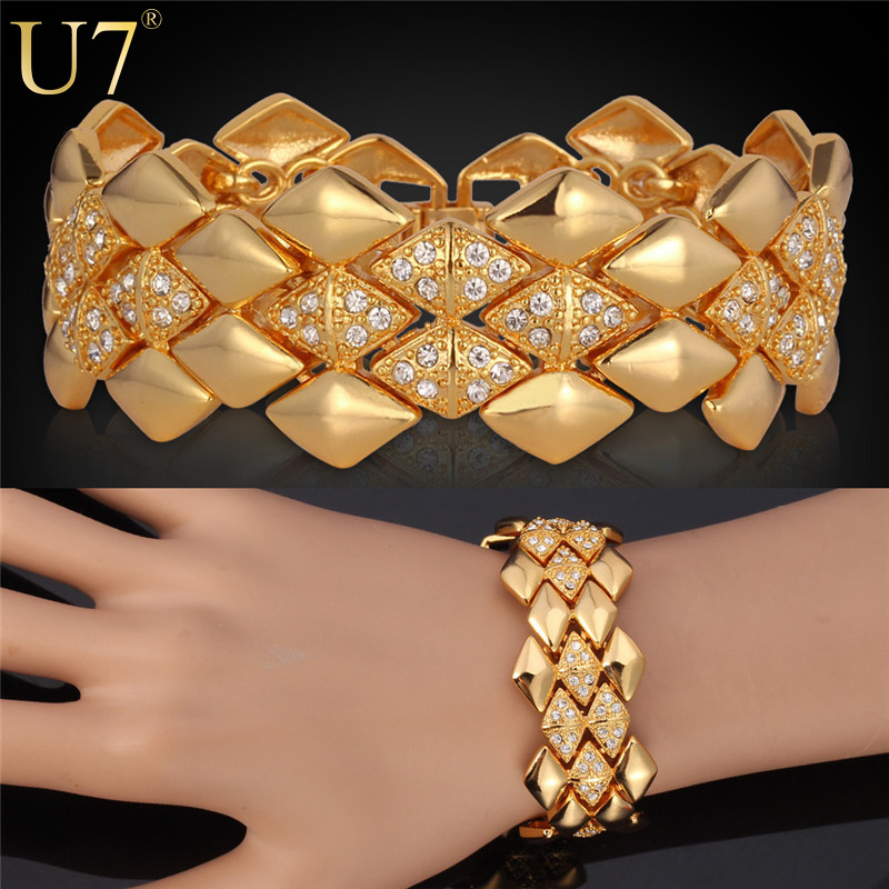 U7 Wide Bracelet Platinum/18K Real Gold Plated Rhinestone Jewelry Trendy Geometric 21cm 25 MM Link Chain Bracelet Wholesale H541(China (Mainland))
