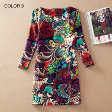 Women Winter dresses 2016 long sleeve Fall Dresses Ladies Vintage Floral Print Women Dress Casual Autumn Dress Plus size Clothes(China (Mainland))