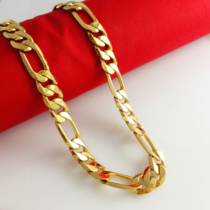 New Fashion Jewelry Vacuum Plating 24K Gold Men 50/60cm Necklace Colorfast Twin chain Free Shipping B043(China (Mainland))