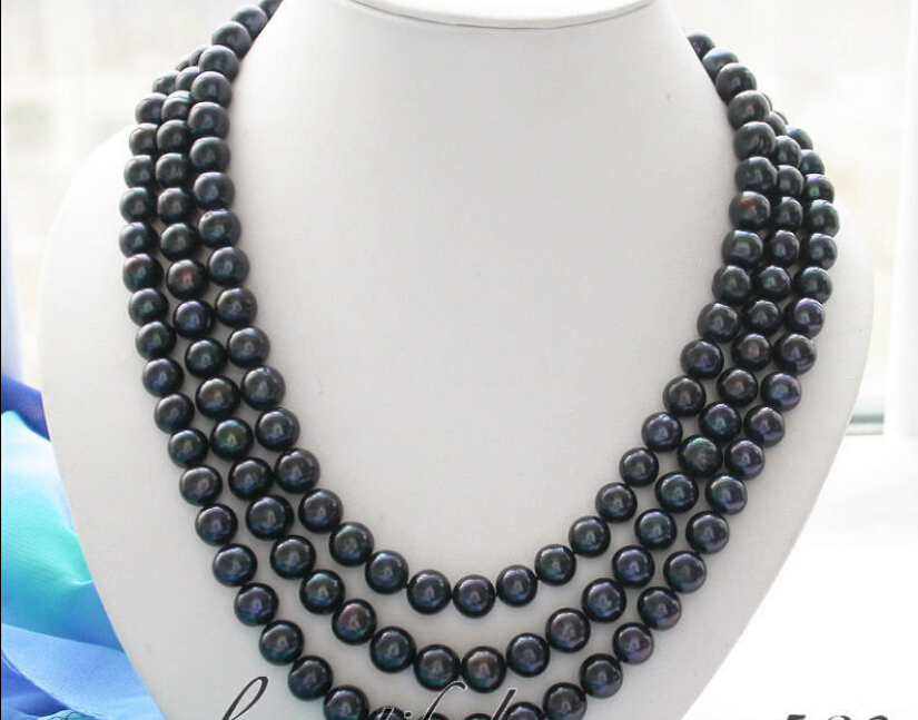 z3228 3row 11mm black round freshwater pearl necklace lapis<br><br>Aliexpress