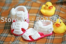 hand crochet baby shoes, infant booties, baby footwear hot sale free shipping(China (Mainland))