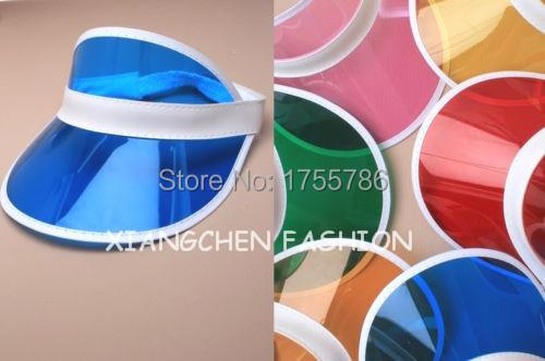 6pcs/lot Summer holiday neon sun visor sunvisor party hat clear plastic cap(China (Mainland))