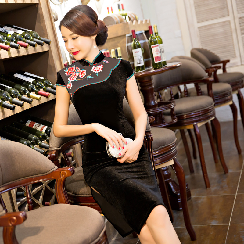 Black New Velour Cheong-sam Vintage Alluring Qipao Sexy Chinese Traditional Women's Silk Mini Dress S M L XL XXL 3XL 102607