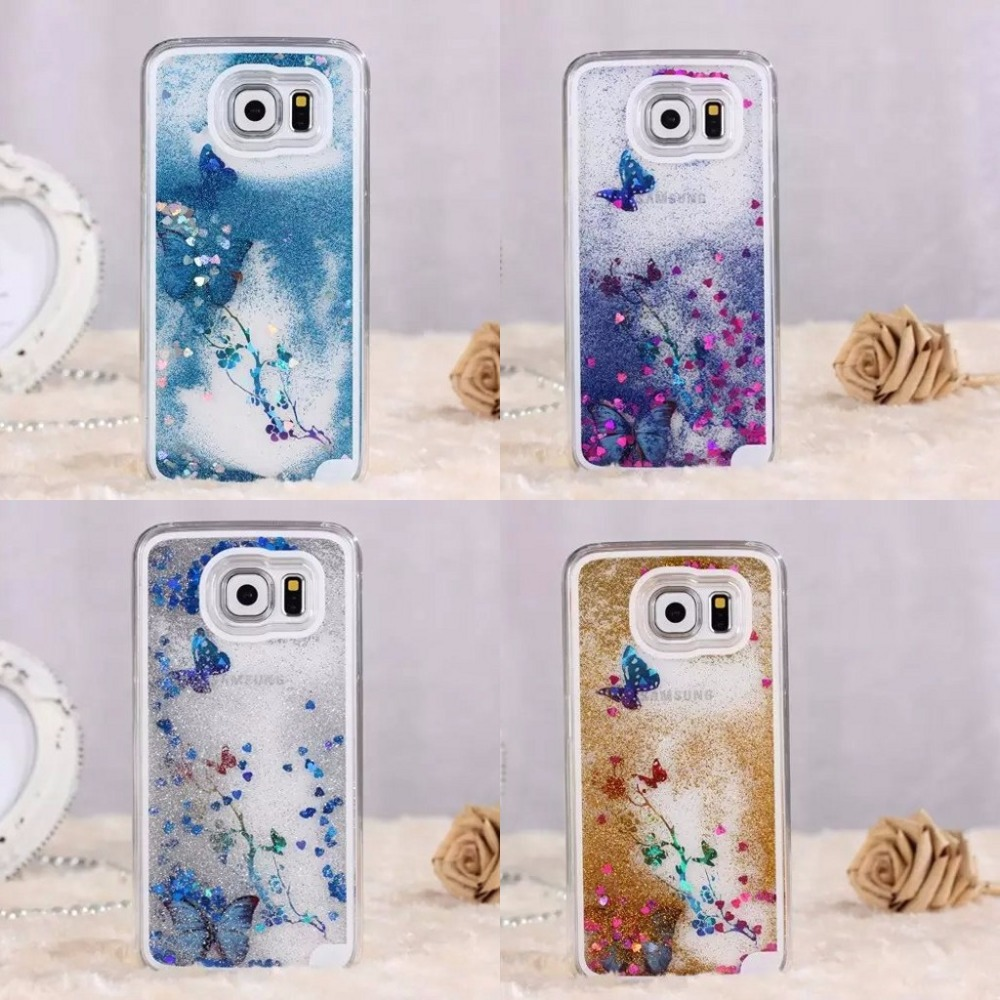 Lovely Glitter Star Liquid Transparent Back Hard Cover Case for Samsung Galaxy S6 Edge Note 3 Note 4 For iPhone 5 6 6S Plus(China (Mainland))