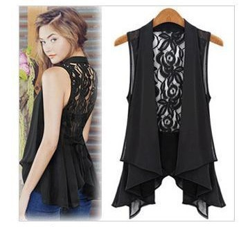 Free shipping new large size chiffon vest and long sections Chiffon Lei Sima clip jacket chiffon jacket