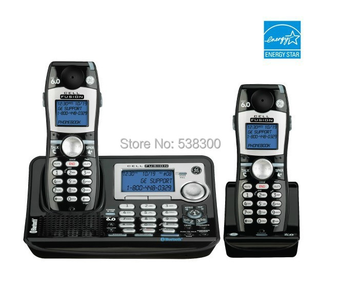 Free Shipping GE 28129 1.9G DECT 6.0 Cordless Phone Dual Handsets Cell Fusion Telephone Integrated Answering System Home Phone(China (Mainland))