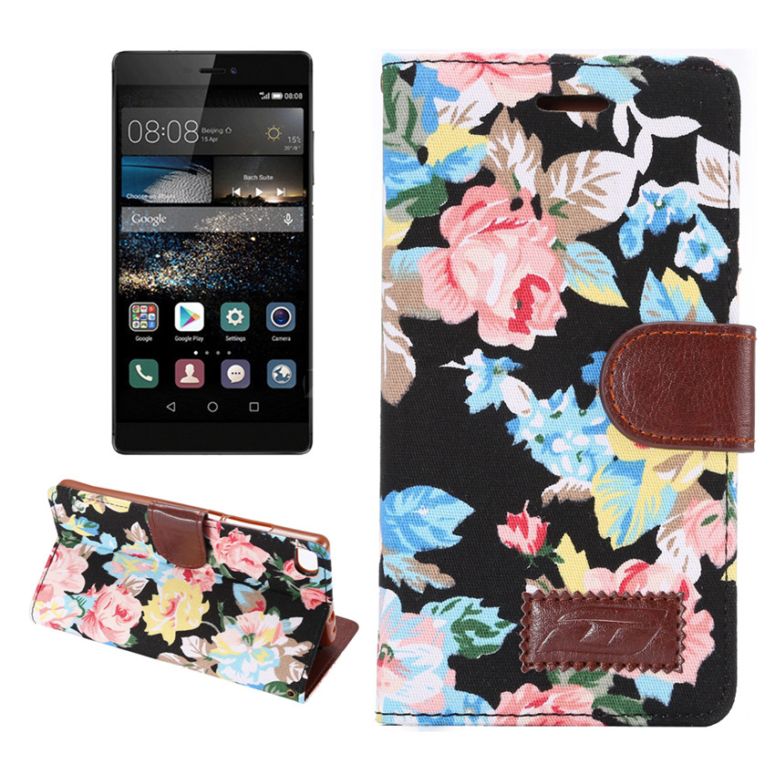 Flower Print Fabric + PU leather Case For Huawei P8 Wallet Card Holder stand Flip Phone Bags cover(China (Mainland))