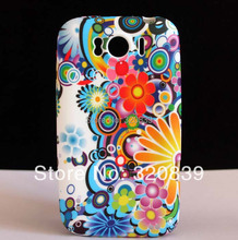 Colorful Rainbow Sun Flower Pattern Soft Rubber GEL TPU Mask Skin Cover Case For HTC Sensation XL Runnymede X315e G21 Hotsale(China (Mainland))