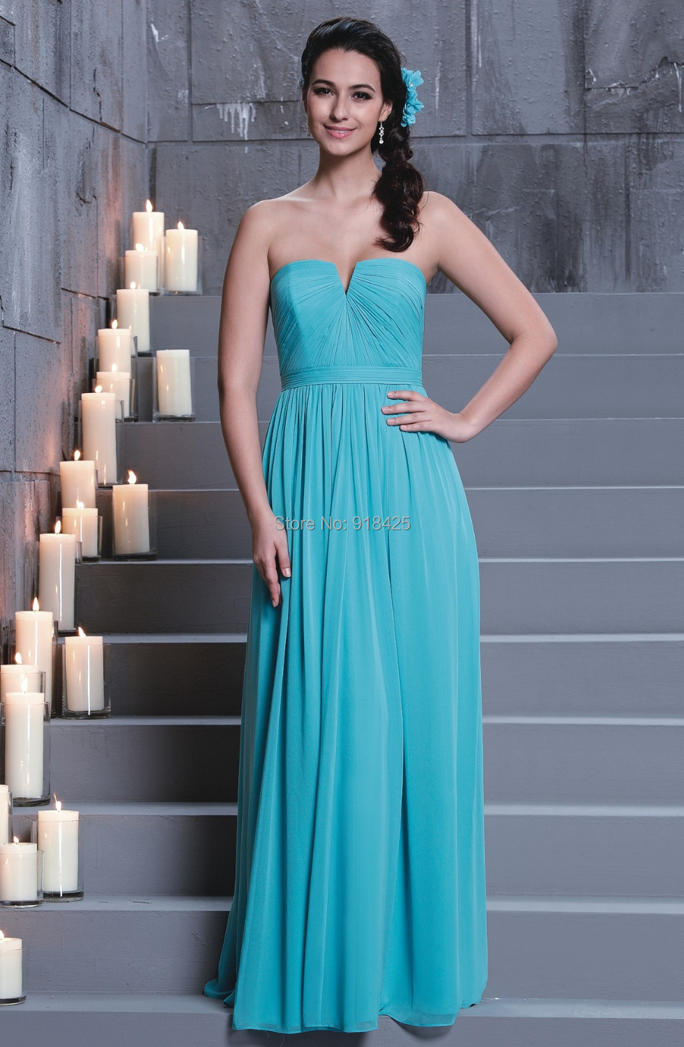 Strapless Turquoise Dress