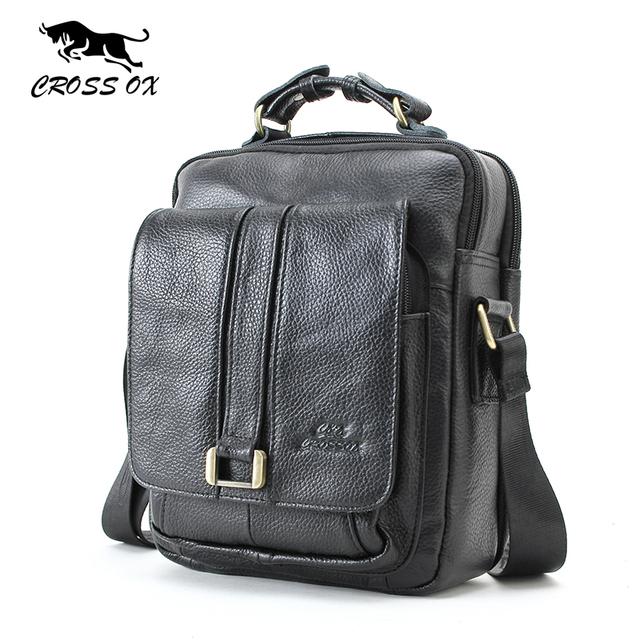 CROSS OX Business Men Genuine Leather Bag Natural Cowskin Men Messenger Bags Vintage Men's Cowhide Shoulder Crossbody Bag SL053M