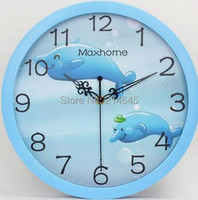 M69 Children room living room wall clock with cartoon Electronic clock, the clock dolphin quiet bedroom