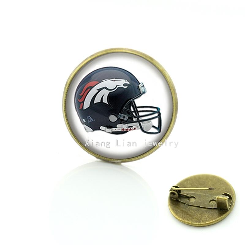 New fashion American football helmet brooch Denver Broncos team Newest mix 32 NFL team pins Christmas gift for men boys NF154(China (Mainland))