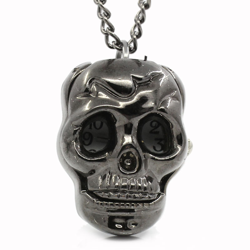 1PC Gunmetal Necklace Quartz Skull Pocket Watch Battery Included 84.5cm long Antique Cool Style Fine Jewelry Gifts For Women Men(China (Mainland))