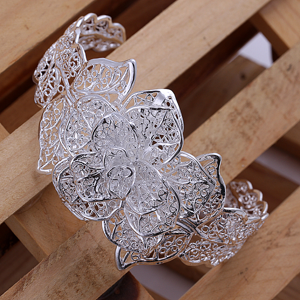 Top quality 925 sterling silver Bangles for women 2015 New fashion jewellery jewelry flower cuff Bracelets Bangles lady(China (Mainland))