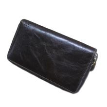 2016 Men Wallet High Quality Genuine Cowhide Handbag Leather Long Wallet Clutch bag Double Zipper Casual Wallets Men Purse Men