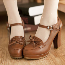Beige Black Brown Princess Lolita bowtie cute sweet Japanese shoes cosplay maid Anim shoes student girls leather PU women shoes