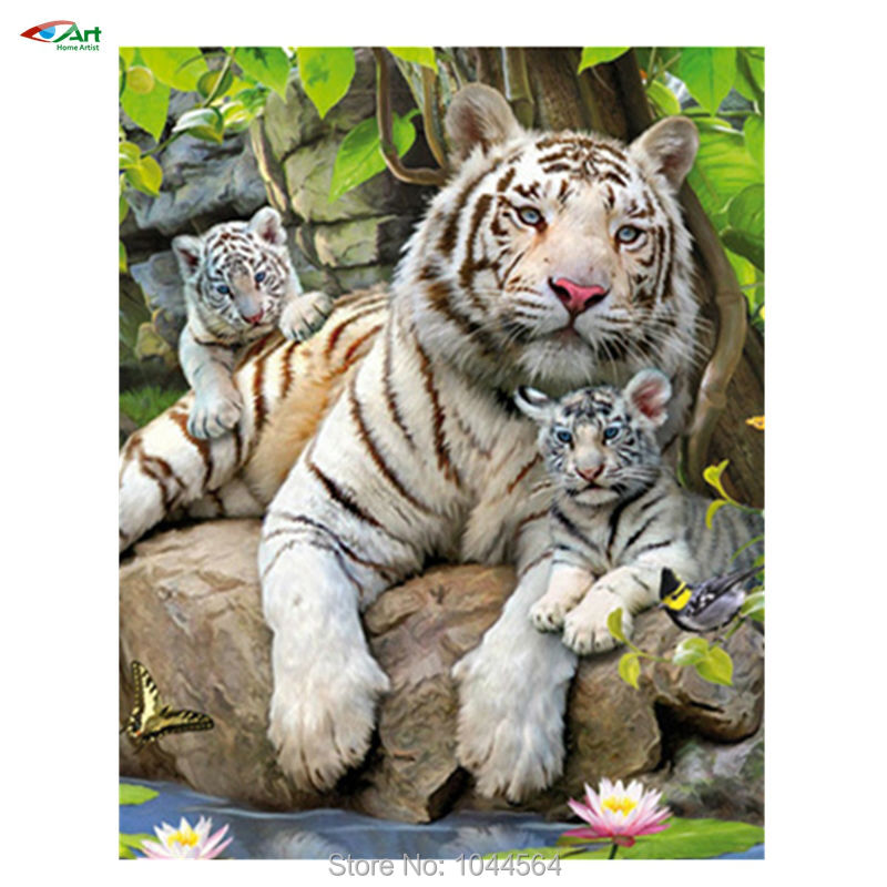 3d Diamond Embroidery painting animals tiger of Home Decor Diamond Mosaic Painting Pasted drills Pictures of tiger family bb1660(China (Mainland))