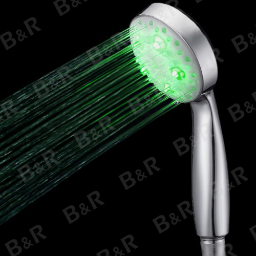 Free shipping BAKALA NEW 2014 LED shower head Trichromatic lamp Temperature control Hydroelectric power Shower hand B-1009(China (Mainland))