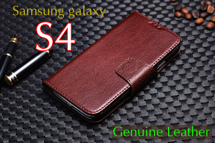 Genuine leather cover for samsung galaxy s4 i9500 i9508 cell phone cases head layer leather wallet phone holster Free shipping(China (Mainland))