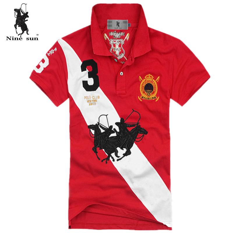 2015 Nine sun brand double horse diagonal camisa  solid men polo shirt 5 color 100% cotton size S-XXL Big order big discount(China (Mainland))