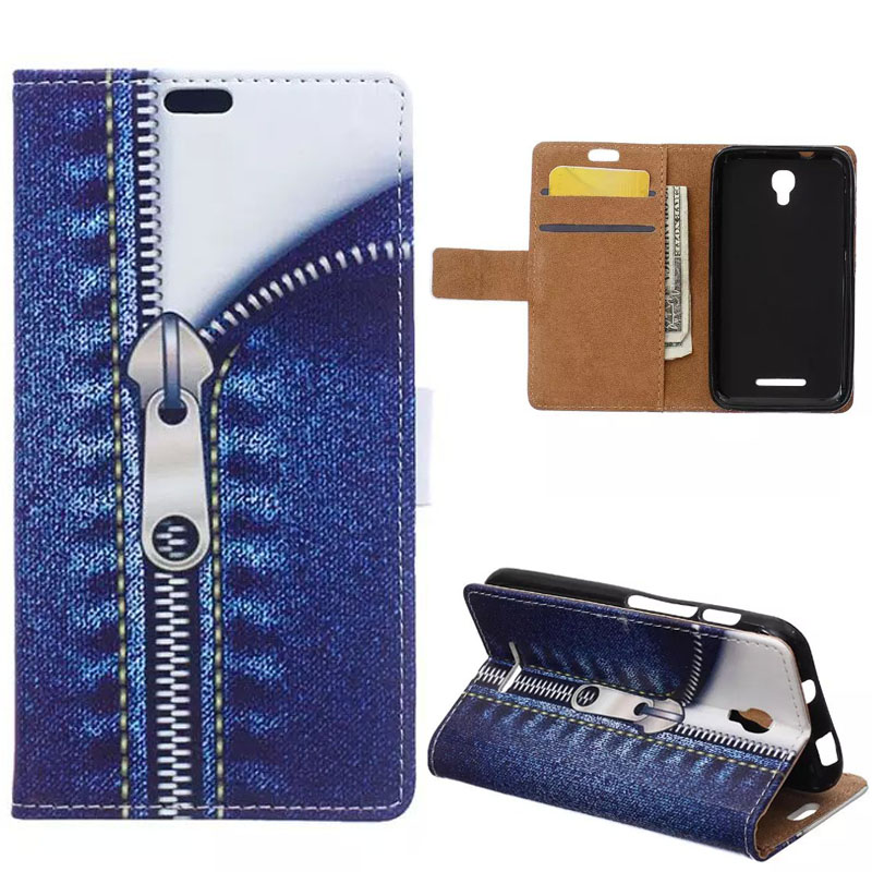 Fashion Zipper Pattern Leather Wallet Stand Flip Cover Fundas sFor Alcatel OneTouch Pixi First 4024D Cell Phone Bag Cases Coque(China (Mainland))