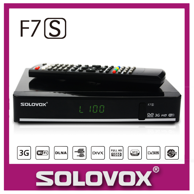 1PC Free Shipping Original Solovox F7S Satellite Receiver Support 2 USB biss Key Youporn Ccamd Newcam 3G modem(China (Mainland))