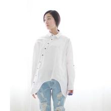 2017 New Women Shirt Cotton Linen Slant Oblique Button White Blue Floral Turn-down Collar Irregular Plus Size Solid Loose Blouse