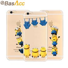 2015 4.7 inch Minions Phone Case for iPhone 6 6s with 19 Styles Despicable Me Yellow Minions Design Silicone Transparent Cover(China (Mainland))