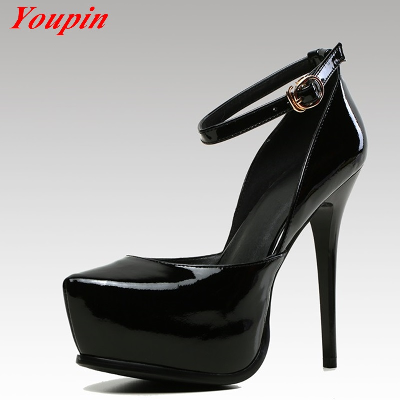 Spring/Autumn New Pumps Patent Leather Shallow mouth Round Toe Women Pumps Foot ring Strap Office Lady Thin Heels Big Size 33-42