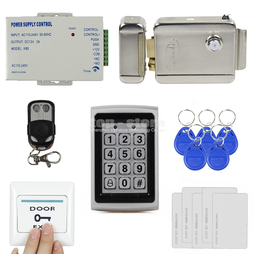 DIY 125KHz RFID Metal Case Keypad Door Access Control Security System Kit + Electric lock + Remote Control 7612(China (Mainland))