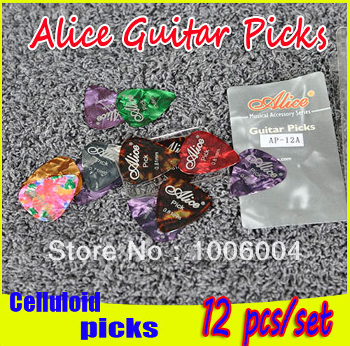 Wholesale 1200pcs/lot Celluloid Alice Guitar Pick,DHL free shipping good quality guitar picks AP-12A,0.46mm/0.58mm/0.71mm/0.81mm(China (Mainland))